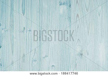 Light aqua blue vintage wood texture. Top view wooden board.