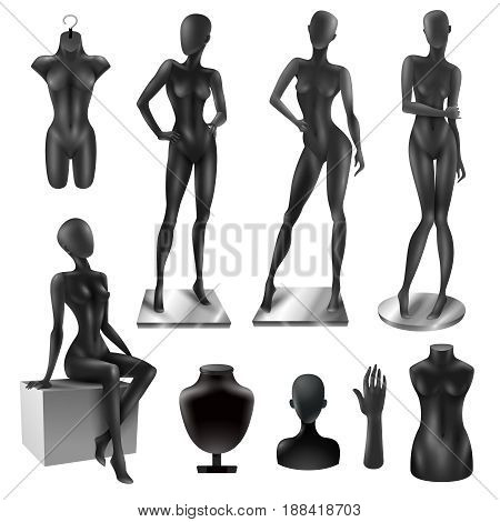 Retail window display black realistic fashion female full body movable joints and partial mannequins collection vector illustration