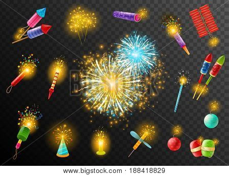Festive pyrotechnic effects on dark background poster with bengal indian lights firecrackers rockets bombs colorful vector illustration