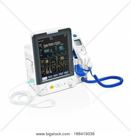 Vital Signs Monitor Device Isolated On White Background. Medical Diagnostic Equipment. Capnography M