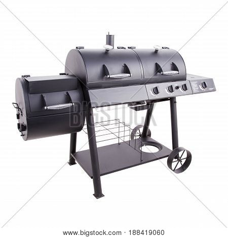 Barbecue Gas Grill Isolated On White Background. Bbq Grillware Gas Grill. Outdoor Grill Table. Outdo