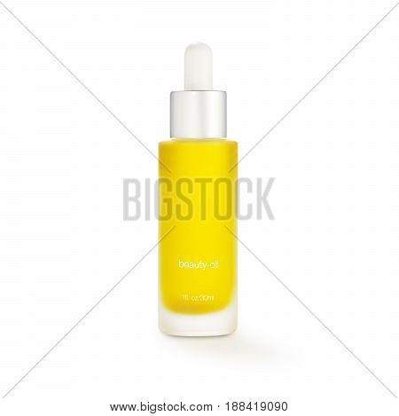 Beauty Oil in Glass Bottle Isolated on White Background. Grooming Products
