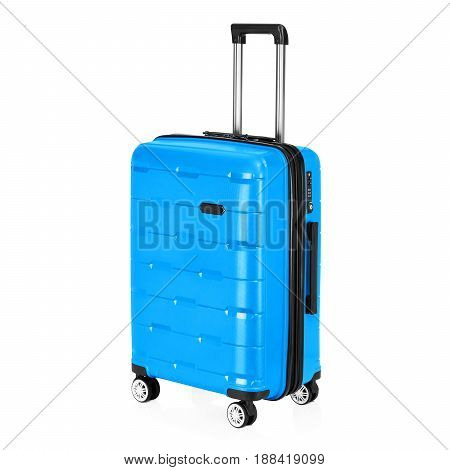 Blue Trolley Luggage Bag Isolated On White Background. Vip Trolley Bag. Trolley Travel Bag. Spinner