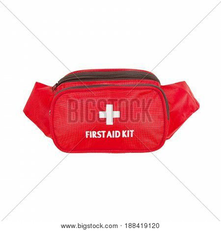 First Aid Bag Isolated on White Background. Medical Kit