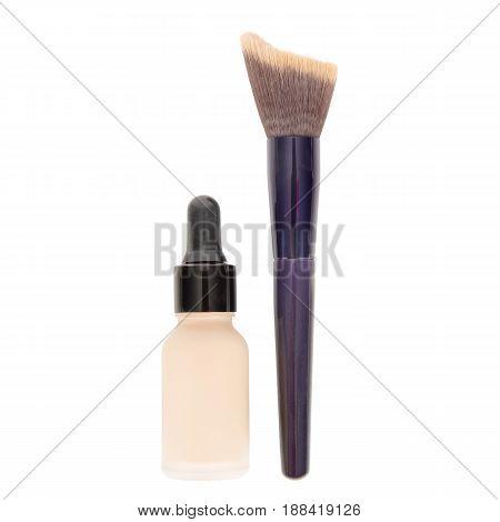 Foundation Makeup Powder Brush And Glass Bottle Isolated On White Background. Eyeshadow. Powder Brus