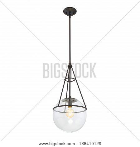 Glass Pendant Sconce Isolated On White Background. Ceiling Light Lamp. Chandelier Lighting. Light Fi