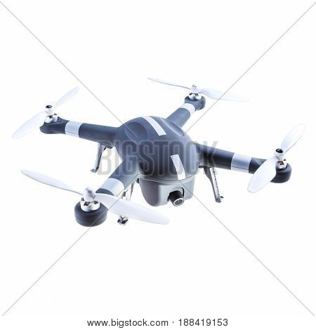 Headless Quadcopter Drone with Action Camera Isolated on White Background. Aerial Quad Copter with Digital Camera. Flying Remote Control Air Drone poster