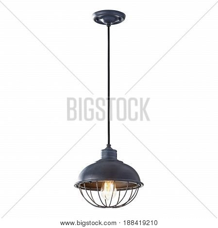 Pendant in Antique Forged Iron Isolated on White Background. Chandelier Lighting. Light Fixture with LED Bulbs. Ceiling Light Lamp poster