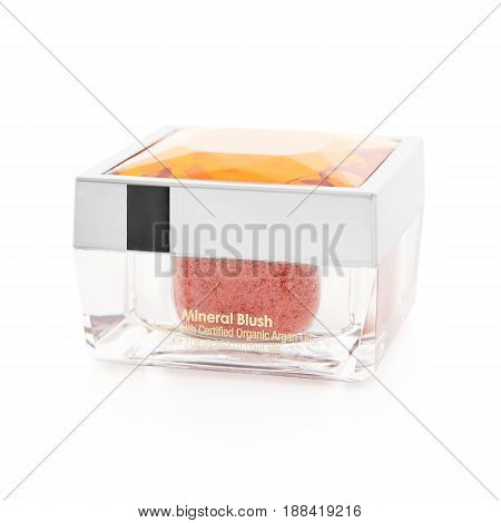Mineral Blush In Glass Container Isolated On White Background. Foundation Makeup Powder. Beauty And