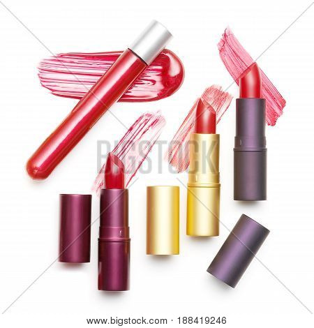 Set Of Different Lipstick Isolated On White Background. Liquid Lipstick Smear. Make Up Collection. S