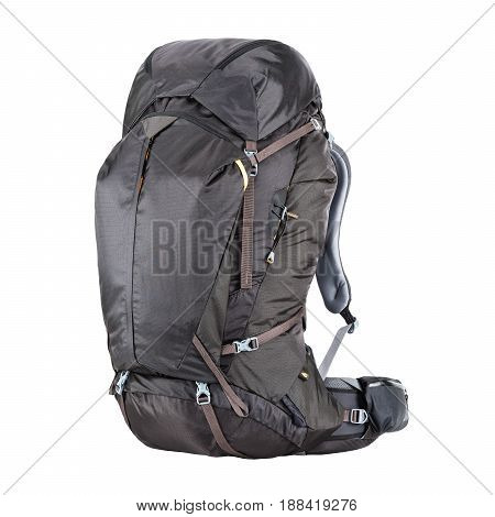 Travel Backpack Isolated on White Background. Black Trekking Rucksack. Climbing Bag. Bouldering Day Pack. Rope Bag