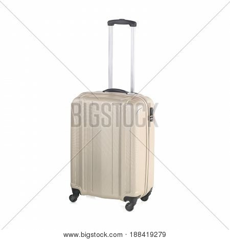 Travel Suitcase With Wheels Isolated On White Background. Vip Trolley Bag. Spinner Trunk. Trolley Tr