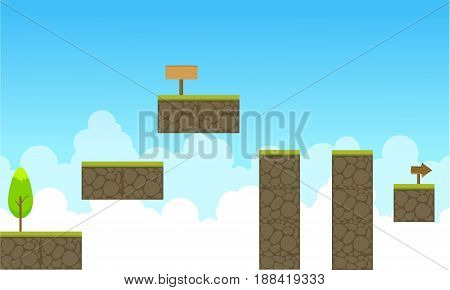 Collection stock sky landscape game backrgound vector art