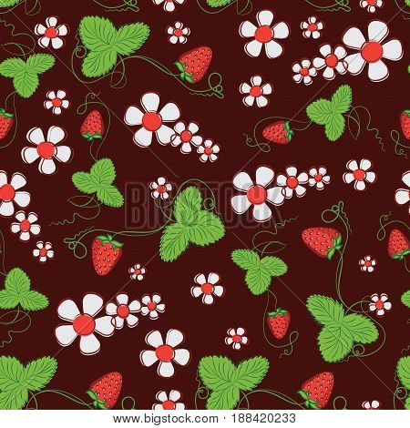 Blooming strawberry with ripe berries. Dark red background. Seamless pattern. Decorative composition for food packaging, farmers market, food products, children's goods.