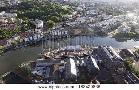 BRISTOL UK - MAY 20 2017: Bristol Floating Harbour and the SS Great Britain. Bristol. England. UK