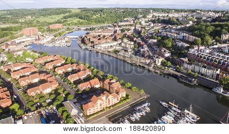 Bristol Floating Harbour showing view of the city of Bristol. England. UK