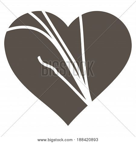 Damaged Love Heart flat icon. Vector grey symbol. Pictogram is isolated on a white background. Trendy flat style illustration for web site design, logo, ads, apps, user interface.