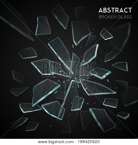 Broken glass shatters various geometric forms sharp pieces spreading and flying apart on black background  vector illustration