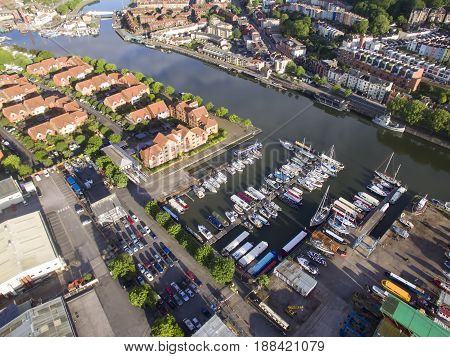 BRISTOL UK - MAY 27 2017:Bristol Floating Harbor showing view of the city of Bristol. England. UK
