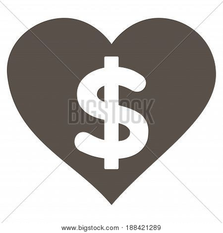 Paid Love flat icon. Vector grey symbol. Pictogram is isolated on a white background. Trendy flat style illustration for web site design, logo, ads, apps, user interface.