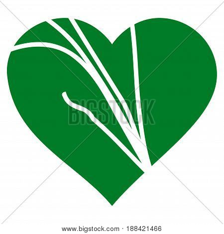 Damaged Love Heart flat icon. Vector green symbol. Pictograph is isolated on a white background. Trendy flat style illustration for web site design, logo, ads, apps, user interface.