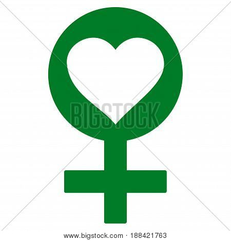 Woman Love Symbol flat icon. Vector green symbol. Pictogram is isolated on a white background. Trendy flat style illustration for web site design, logo, ads, apps, user interface.