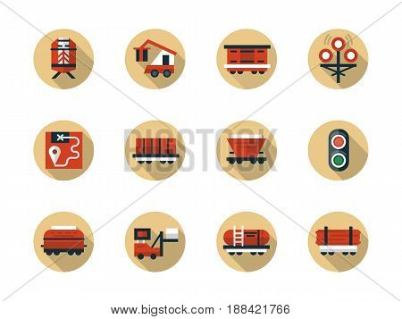 Symbols of train cargo shipment. Rail car types for railroad transportation of different freights. Collection of stylish flat round beige vector icons.