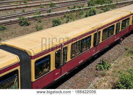 S-bahn Train On Multi Lane Rail / Railroad Network At Berlin Olympiastadion