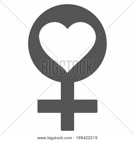 Woman Love Symbol flat icon. Vector gray symbol. Pictograph is isolated on a white background. Trendy flat style illustration for web site design, logo, ads, apps, user interface.