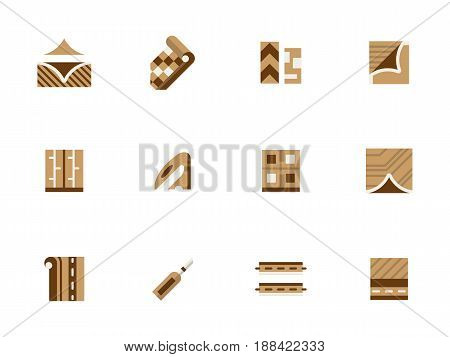 Symbols of materials and equipment for linoleum installation. Flooring services, construction and renovation works. Collection of stylish flat brown vector icons.