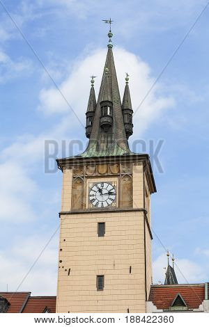 Old Town Water Tower Prague Czech Republic. Built in the 16th century over the Vltava river was used to supply the Old Town fountains with water