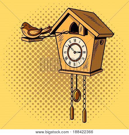 Cuckoo clock comic book pop art retro style vector illustratoin