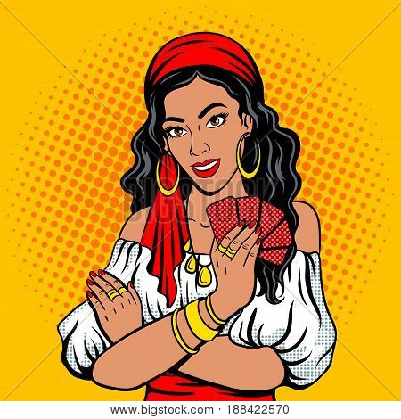 Gypsy girl fortune teller pop art retro vector illustration. Comic book style imitation.