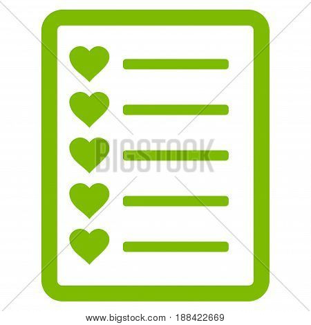 Favourites List Page flat icon. Vector light green symbol. Pictograph is isolated on a white background. Trendy flat style illustration for web site design, logo, ads, apps, user interface.