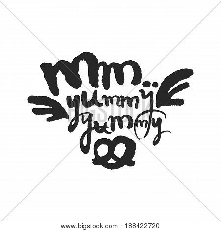 Mm Yummy Yummy. Hand written phrase in calligraphic style. Black on white background. Clipping paths included.