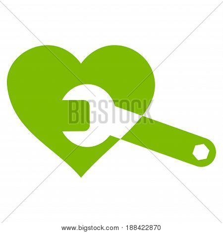 Heart Surgery Wrench flat icon. Vector light green symbol. Pictogram is isolated on a white background. Trendy flat style illustration for web site design, logo, ads, apps, user interface.