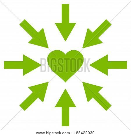 Impact Love Heart flat icon. Vector light green symbol. Pictograph is isolated on a white background. Trendy flat style illustration for web site design, logo, ads, apps, user interface.