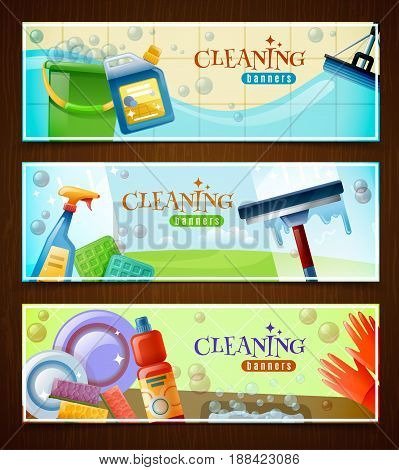 Set of horizontal banners with floor cleaning washing of windows and sparkling tableware isolated vector illustration