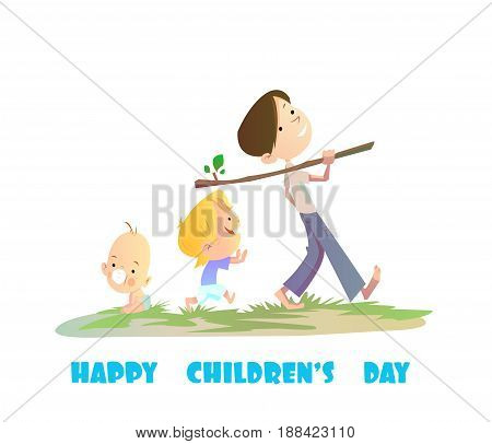 Digital vector happy children day card, baby boy and small kids walking