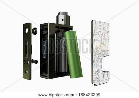 3d illustration of a box mod isolated on white background