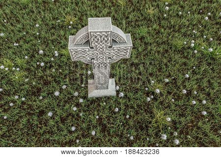 3d illustration of celtic cross in a cemetery