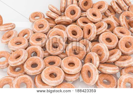 3d illustration of donuts isolated on white background