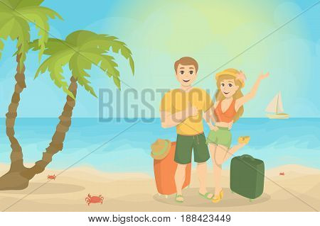 Couple at the beach. Happy young man and woman on the sea shore. Summer vacation time.