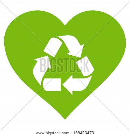 Love Recycle flat icon. Vector light green symbol. Pictogram is isolated on a white background. Trendy flat style illustration for web site design, logo, ads, apps, user interface.