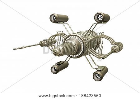 3d illustration of a spaceship model isolated on white background