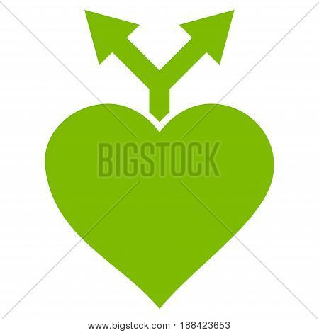 Love Variants flat icon. Vector light green symbol. Pictogram is isolated on a white background. Trendy flat style illustration for web site design, logo, ads, apps, user interface.