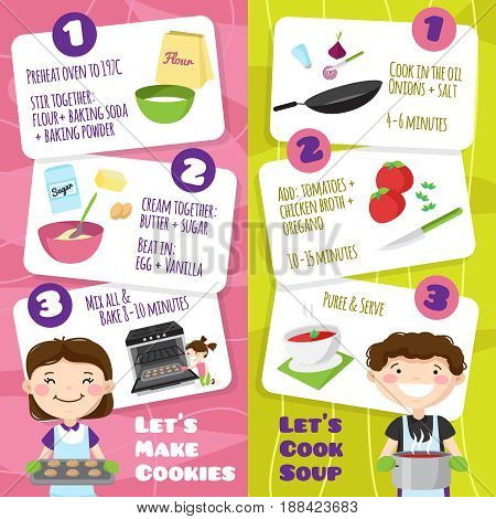 Kids cooking vertical banners set with flat cartoon style teenager characters and cards with cooking tips vector illustration