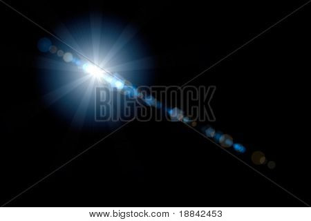 Lens flare efecto artístico aislado sobre fondo negro. Puede ser superpuesto en una imagen con mo de pantalla
