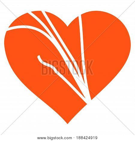 Damaged Love Heart flat icon. Vector orange symbol. Pictogram is isolated on a white background. Trendy flat style illustration for web site design, logo, ads, apps, user interface.