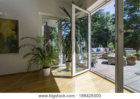 Glass Door To Spacious Outdoor Terrace